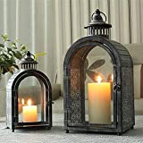 JHY Design Set of 2 Antique Grey Decorative Lanterns, Metal Candle Lanterns for Indoor Outdoor, Events, Parities and Weddings