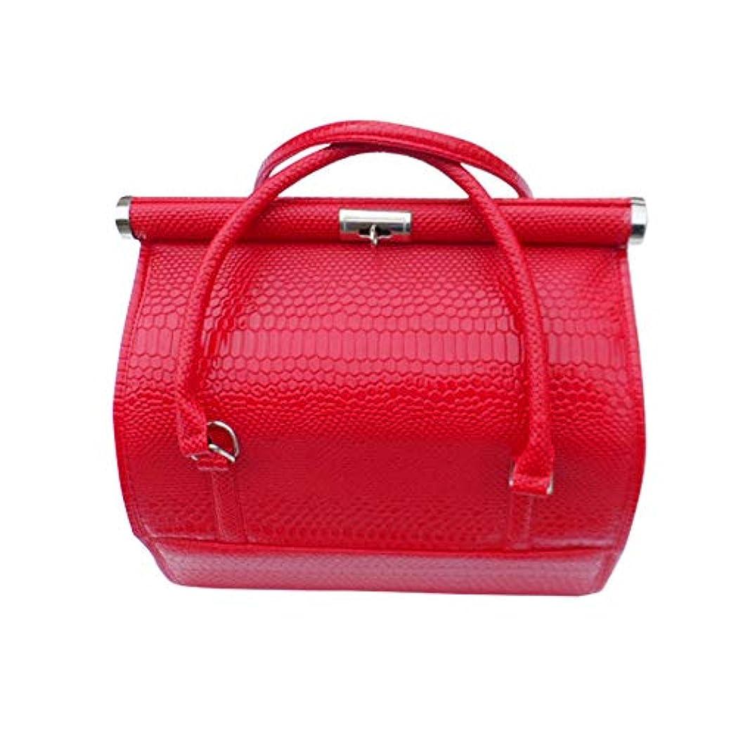 アロング設計極めて重要な化粧オーガナイザーバッグ 女性の女性のための美容メイクアップのためのポータブル化粧品バッグ旅行と折り畳みトレイで毎日のストレージ 化粧品ケース