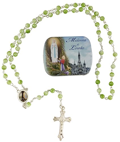 [해외]묵주 루르드 그린 \u203b 깡통 케이스 L-1037/Our Lady of Losario Lourdes Green \u203b With can case L-1037