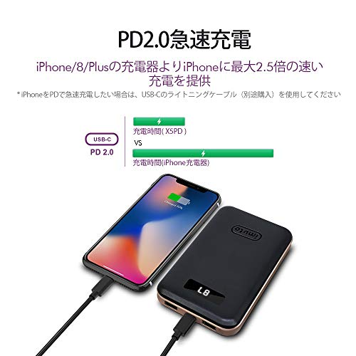 USB-C Power Delivery対応 モバイルバッテリー10000mAh QC 3.0/2.0 USB急速充電 残量表示 パソコン 充電 バッテリー 3台同時充電 iPhone XR XS Max X 8 Plus, Samsung S9 S8, Nintendo Switch,MacBook,ノートパソコン等対応 2枚目のサムネイル