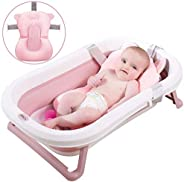 3-in-1 Foldable Baby Bath Tub - Portable Collapsible Lightweight Shower Bathtub - Soft Hypoallergenic Cushion
