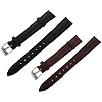 HOMYL 2pcs Watch Bands Straps 14mm Classic Leather Watch Band Replacement