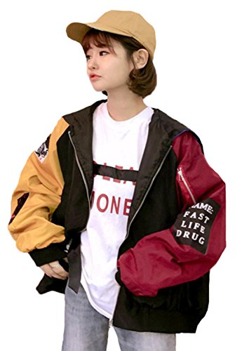 MengFan レディース ジャケット コート 秋 ミリタリー ジャンパー オーバー ブルゾン スカジャン 長袖 フードを付け ゆとり 原宿風 野球ウェア スプライス色 通勤 通学ブラックワンサイズ
