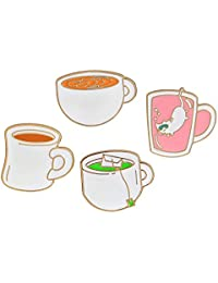 Niome Creative Cartoon Metal Coffee Tea Cup with Cat Badge Corsage T-shirt Pins Jewelry Eye-catching Cute