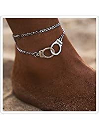 VWH Double Layers Anklets for Women Alloy Pendant Chain Beach Summer Foot Ankle Jewelry