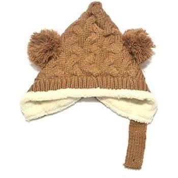 46da97dcfcd15 ベビー ボンボン とんがり ニットキャップ ニット帽 女の子 男の子 赤ちゃん キッズ 子供 ニット 冬 帽子 (ブラウン)
