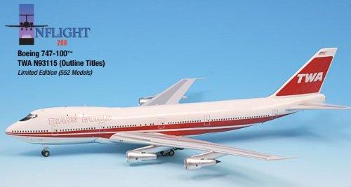 1: 200 インフライト TWA ボーイング 747-100 1977 Twin Stripes and Outline Colors (並行輸入)