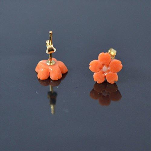 桜 桃色珊瑚製 ピアス 14KGF