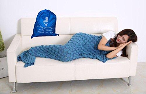 OUBA 毛布 ブランケット ケット お昼寝毛布 ウロコ 人魚姫に変身 人魚コスチューム 人魚タイプ マーメイド 冷房対策 着る毛布 柔らかい 防寒 大人用 可愛い (190*90cm) 2色 パープル・ブルー (ブルー)