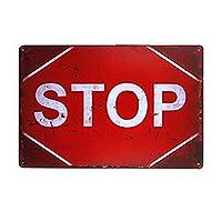 [ZUNYI]メタルサインSTOPブリキ看板 ビンテージ・スタイル、壁の装飾、家、パブ、ビール、ガレージ、庭、コーヒー[20cmx30cm]