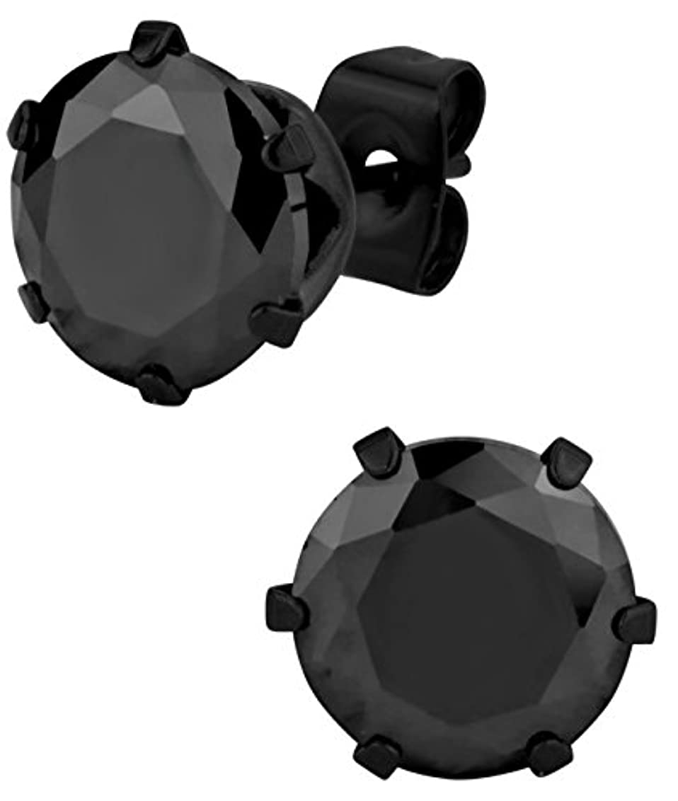 本会議組み合わせるプランテーションLargeステンレススチールブラックIPメッキラウンド5.5 CTメンズのブラックCZ模造ダイヤモンドスタッドイヤリング