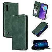 サムスンギャラクシーA10財布ケースカバー、革磁気ブックデザインケース、カードスロット付きスリムフォリオ保護ケース/サムスンギャラクシーA10用キックスタンド chenweixiongsc (Color : Green)
