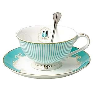 FYX ボーンチャイナ ティー・コーヒーカップ カップ&ソーサー&匙 3点セット ヨーロッパ 風 王室イングランド 上品 ギフト