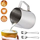 LGNTXDC Milk Frothing Jug and 2pcs Demitasse Espresso Spoons, 350 ML 12 OZ Stainless Steel Milk Pitcher for Coffee Cappuccino Espresso and 2-Piece 4 Inches Little Mini Coffee Spoons