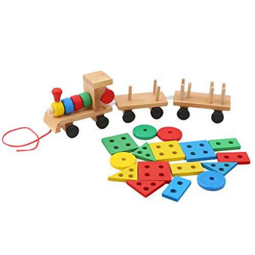HKUN 木製玩具パズル 列車 おもちゃ 積み木 セット パズル 形合わせ 引っぱり 幼児 知育玩具...