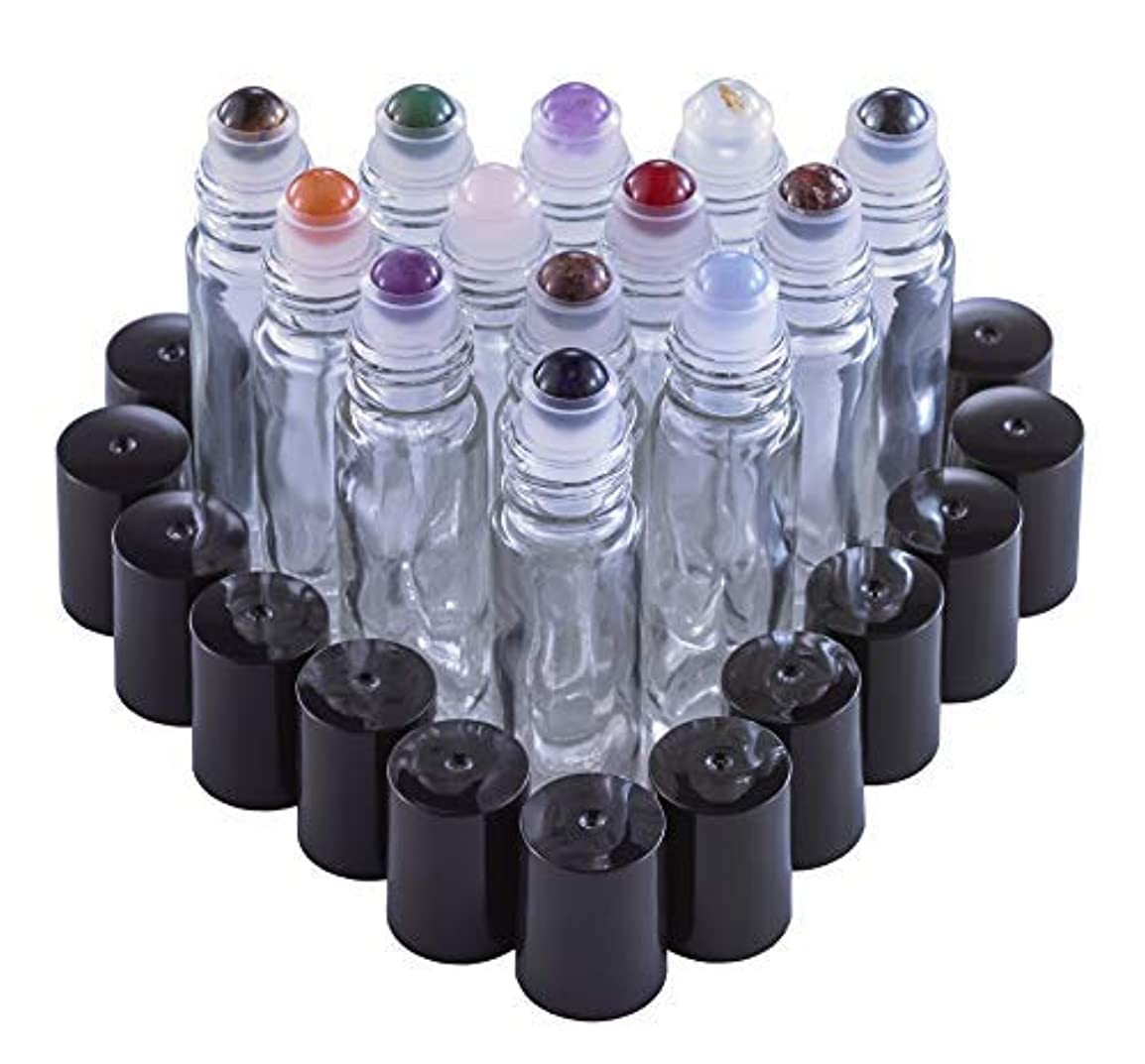ハーブステープル無力Gemstone Roller Balls For Essential Oils - 13 Beautiful Glass Roller Bottles With Precious Gemstones and Crystals Tops - For Blending Including Tiger Eye, Rose Quartz, Amethyst [並行輸入品]