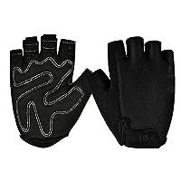 ボクシンググローブ アウトドアスポーツハーフフィンガーグローブ男性女性ジムフィットネスウェイトリフティングトレーニングランニングトレーニング指なし(ペア) トレーニンググローブ (Color : Black, Size : M)