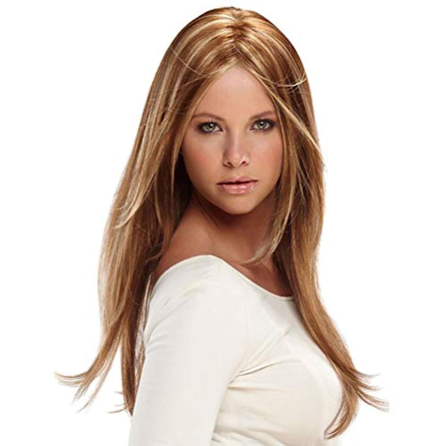 最小化する装置アルコールブロンドのボブ60 cmのための自然なヘアライン実体波前頭毛髪のかつらで女性の合成ロングウィッグ