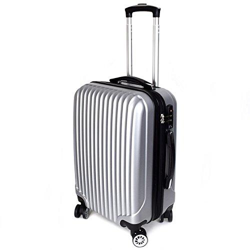 【神戸リベラル】LIBERAL 軽量スーツケース キャリーバッグ 容量アップ 8輪キャスター TSAロック付き (Sサイズ(1-3泊用 40/50L), シルバー)