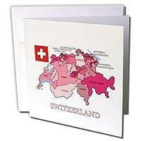 777imagesフラグとマップ–ヨーロッパ–スイスの国旗とマップCantonsを異なる色で示し–グリーティングカード Set of 12 Greeting Cards