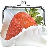 がま口 財布 口金 小銭入れ ポーチ いちご 牛乳 おいしそう Jiemeil バッグ かわいい 高級レザー レディース プレゼント ほど良いサイズ