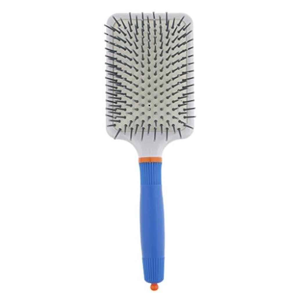 軽くデコレーション荒らすプラスチック製 ブラシ 頭皮マッサージブラシ フラットヘアブラシ 櫛 静電気防止 全2色 - ダークブルー