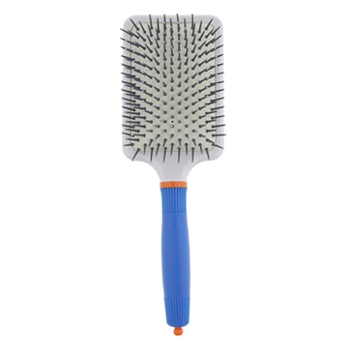 気配りのあるすきローププラスチック製 ブラシ 頭皮マッサージブラシ フラットヘアブラシ 櫛 静電気防止 全2色 - ダークブルー