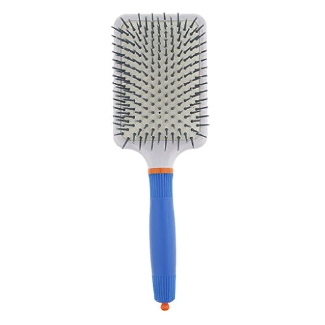 岸配管工懇願するプラスチック製 ブラシ 頭皮マッサージブラシ フラットヘアブラシ 櫛 静電気防止 全2色 - ダークブルー