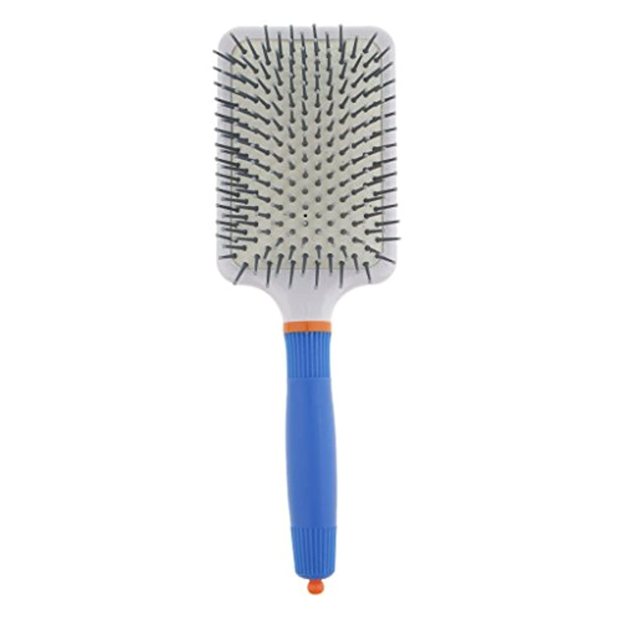 盗賊女王降雨プラスチック製 ブラシ 頭皮マッサージブラシ フラットヘアブラシ 櫛 静電気防止 全2色 - ダークブルー