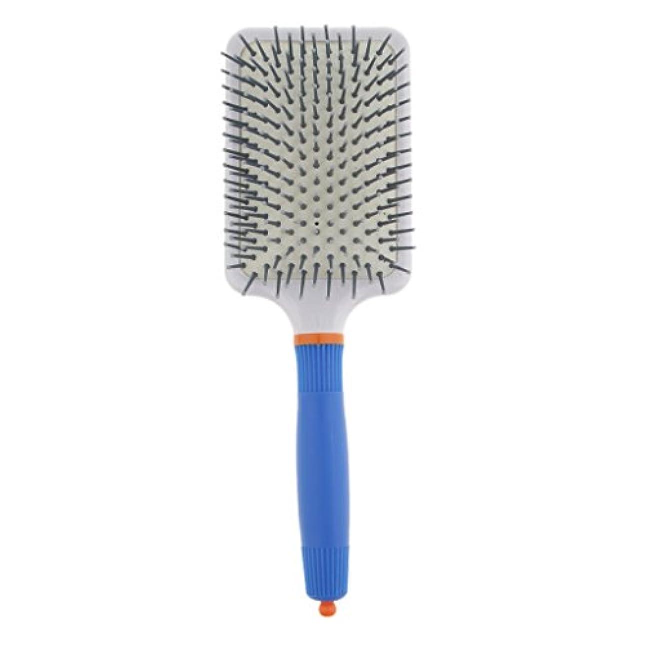 ラブネックレス反発プラスチック製 ブラシ 頭皮マッサージブラシ フラットヘアブラシ 櫛 静電気防止 全2色 - ダークブルー