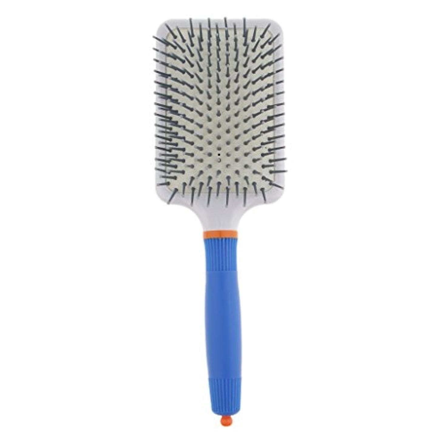 シャープミット錫プラスチック製 ブラシ 頭皮マッサージブラシ フラットヘアブラシ 櫛 静電気防止 全2色 - ダークブルー