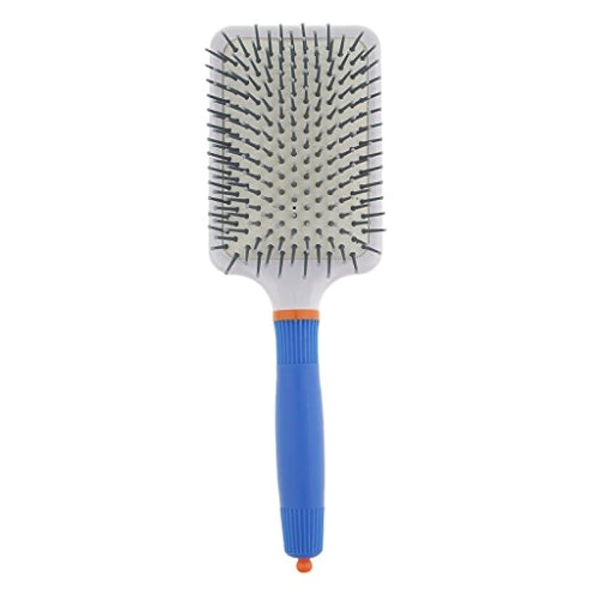 帳面箱エキゾチックプラスチック製 ブラシ 頭皮マッサージブラシ フラットヘアブラシ 櫛 静電気防止 全2色 - ダークブルー