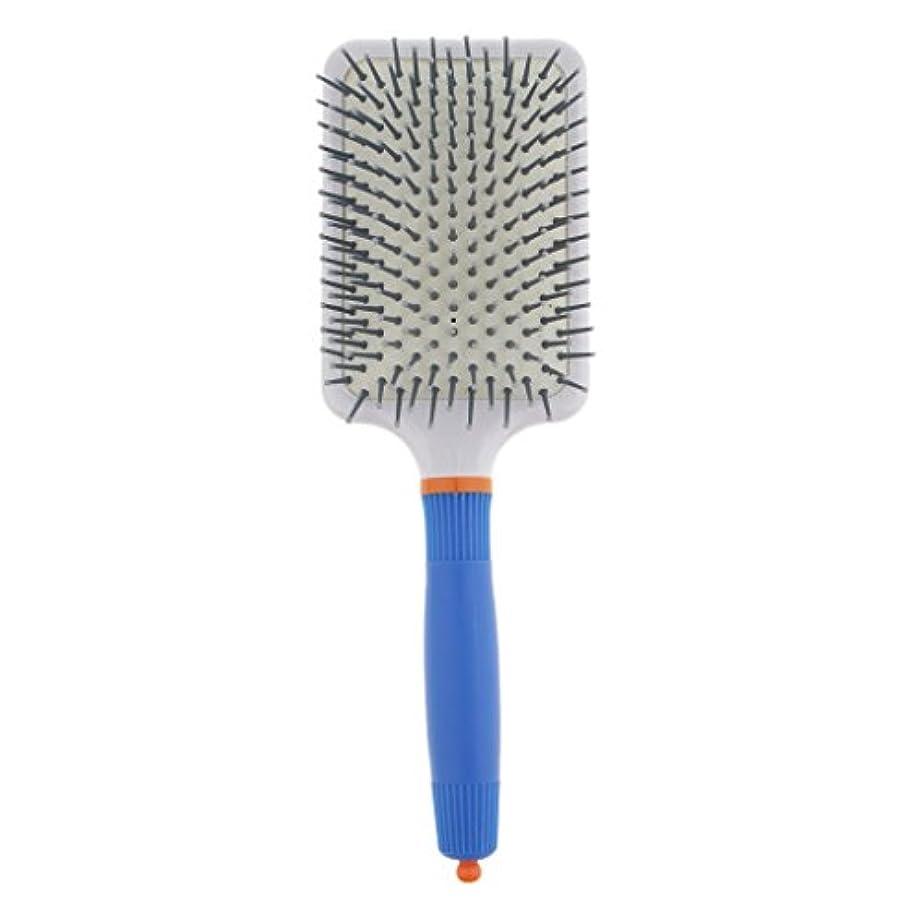 トロピカル意気揚々無条件プラスチック製 ブラシ 頭皮マッサージブラシ フラットヘアブラシ 櫛 静電気防止 全2色 - ダークブルー