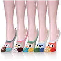 Color City Womens Novelty Cute Funny Ankle Socks - Cartoon Animal No Show Low Cut Socks (5 Pairs Owl)