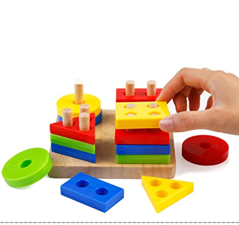 discoverme8木製の形状カラー認識の幾何ボードブロックパズルおもちゃ教育Preschoolギフト