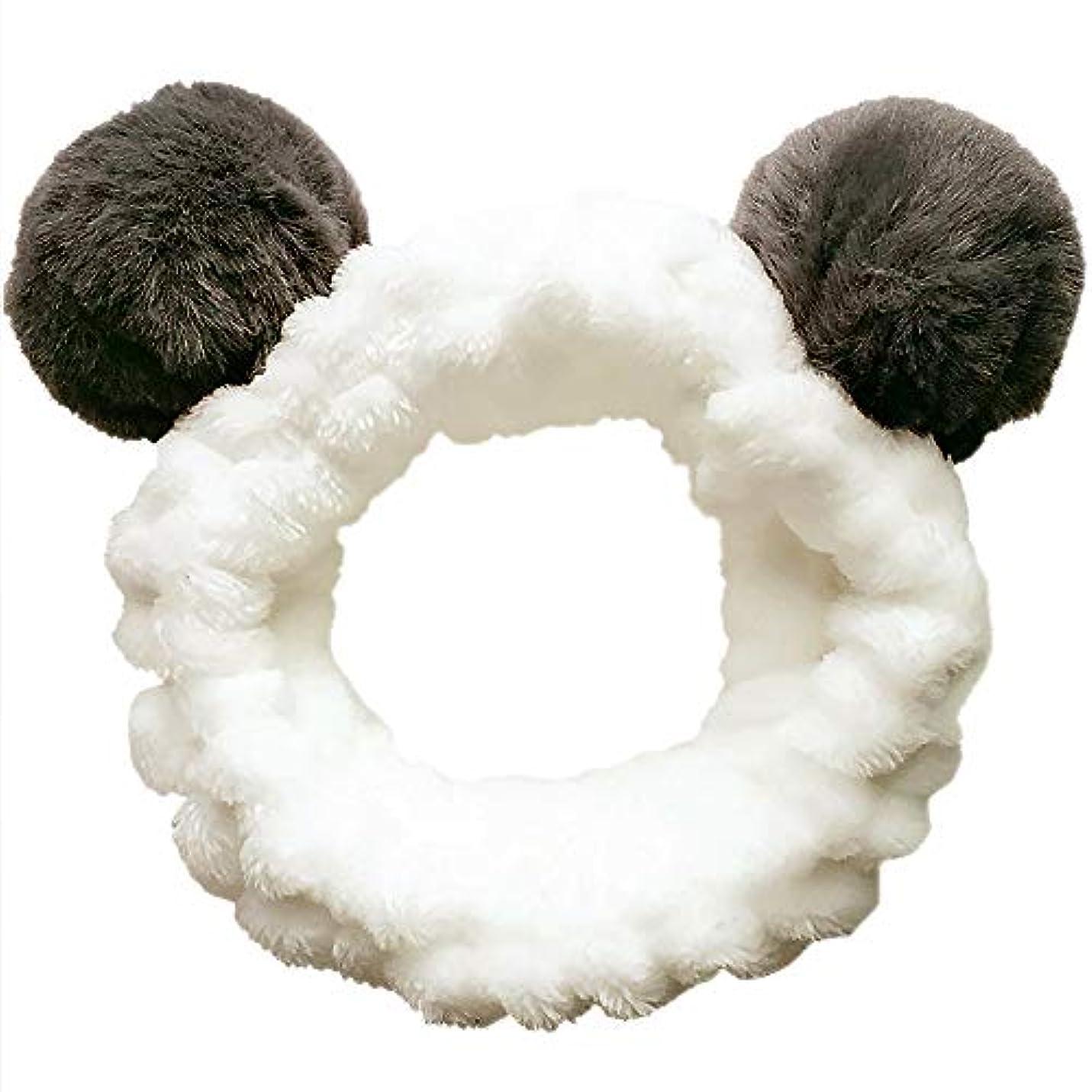 喉頭捧げる余計なヘアバンド 洗顔 動物 パンダ型 柔らかい 吸水 ターバン レディース ヘアアレンジ 伸縮性あり アニマル ふわふわ