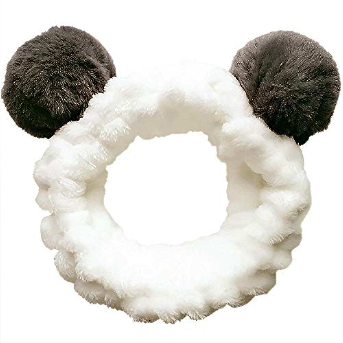 実質的写真のリスクヘアバンド 洗顔 動物 パンダ型 柔らかい 吸水 ターバン レディース ヘアアレンジ 伸縮性あり アニマル ふわふわ
