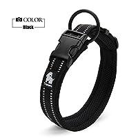 安全反射 通気 ソフト ナイロン 首にやさしい 犬用首輪 大型犬 中型犬 小型犬用 (XL, ブラック)