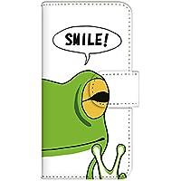 ホワイトナッツ iPhone7 Plus ケース 手帳型 プリント手帳 (cw-1353) カード収納 スタンド機能 カエル ピース スマイル イラスト キモかわ 個性的 WN-PR221559-LL