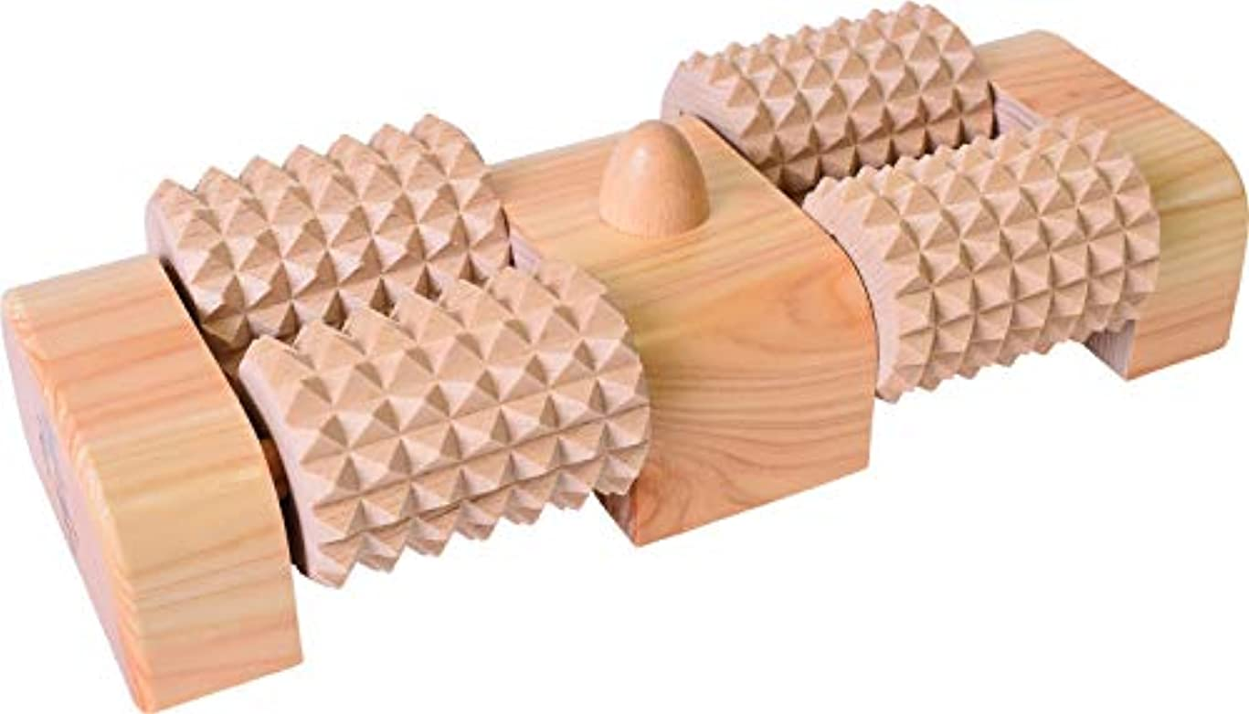 瞑想世論調査ドロップ木曽工芸 ウッドローラーマッサージャー 足うら思い(W) ツボ押し付き WDM-004