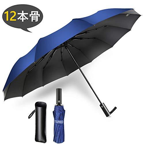 折りたたみ傘 ワンタッチ 自動開閉 大きい 頑丈な12本骨 メンズ 耐強風 超撥水 210T高強度グラスファイバー 梅雨対策 晴雨兼用 二重構造 ビッグサイズ 傘カバー付き (ブルー)