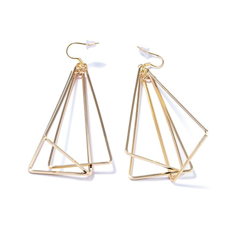 降臨あからさま常習的LOHOMEファッションイヤリング18 KゴールドトーンスイングStereoscopic Triangleチャームスタッドイヤリングfor Womens