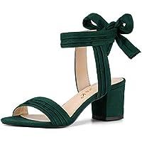 Allegra K Women's Open Toe Ankle Tie Back Block Heel Sandals