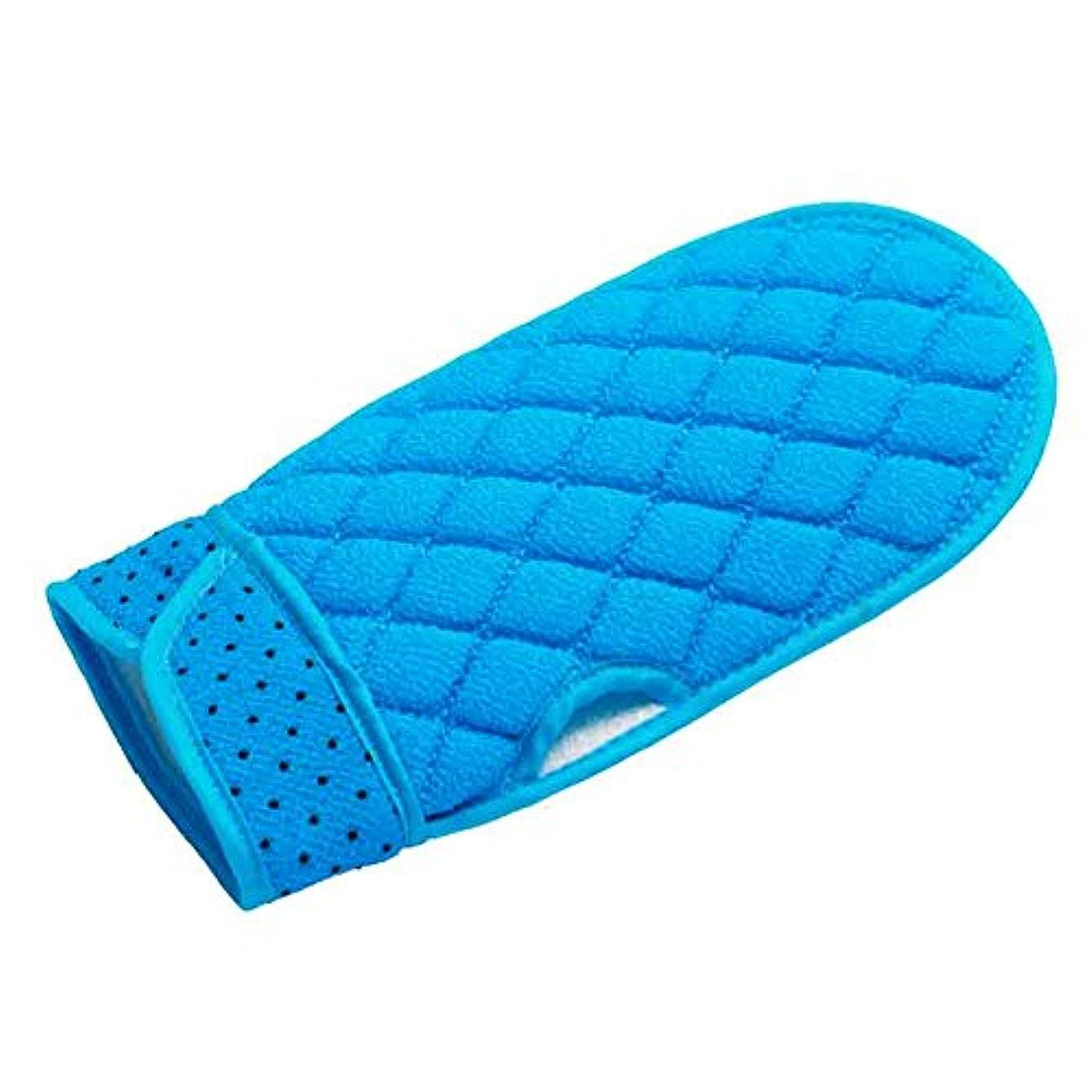 対称期限雪の韓国式 垢すり手袋 あかすりミトン (2個セット) (Blue)