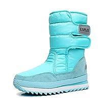 KINDOYO レディースウィンタースノーブーツ - ウォームベルベットの裏地付き防水ブーツ, 45/ライトブルー