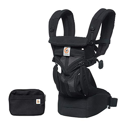 Ergobaby Carrier, Omni 360 All Carry Positions Baby Carrier with Cool Air Mesh, Onyx Black - Au Black Edition