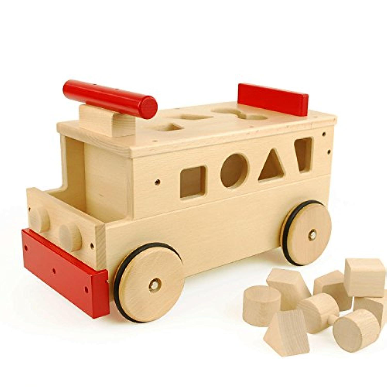 【日本製木のおもちゃ】のりもの積木*乗用バス