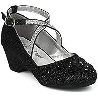 Alrisco Girls Glitter and Rhinestone Embellished Cross Strap Kiddie Heel HH14