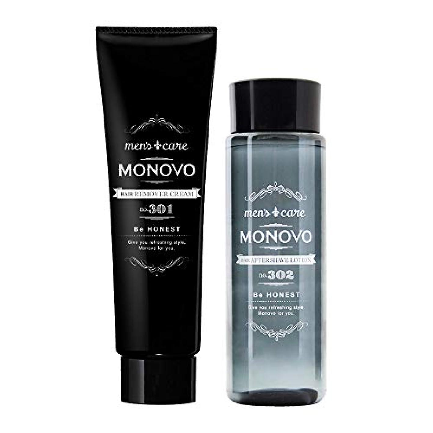 パワーセルく価値MONOVO ヘアリムーバークリーム(1本)とアフターシェーブローション(1本)のセット
