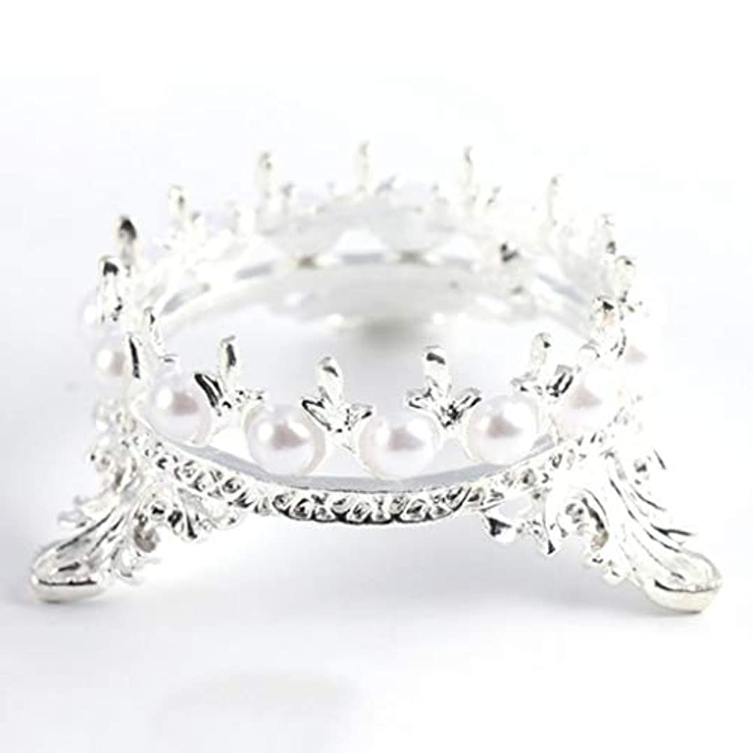 回転見落とすマーカーQuzama-JS ホット販売1 Xクラウンスタンドペンブラシホルダーパールネイルアートペンラックマニキュアネイルアートツール必需品(None Silver Crown Penholder)